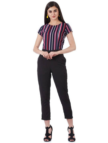 Stylish Blue Striped Crepe Jumpsuit For Women - Tee-Zoo