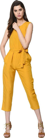 Stylish Yellow Button Solid Jumpsuit For Women - Tee-Zoo