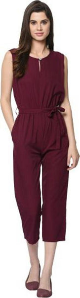 Stylish Violet Button Solid Jumpsuit For Women - Tee-Zoo