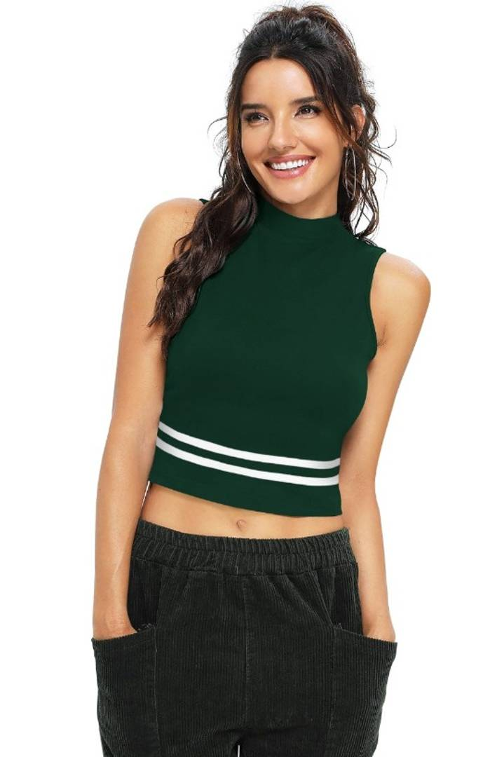 Women's Solid Knitting High Neck Crop Top - Tee-Zoo