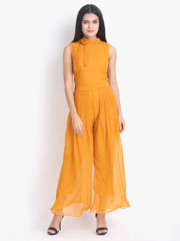 Women's Orange Georgette Solid Basic Jumpsuit - Tee-Zoo