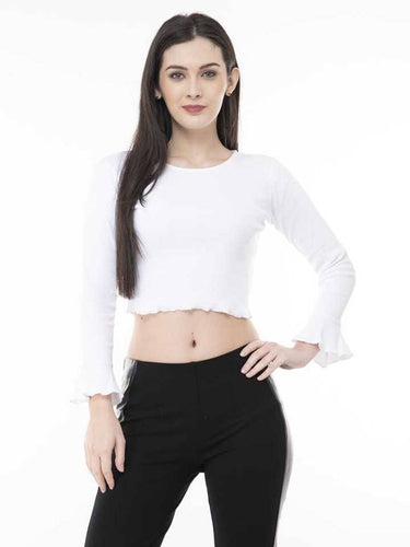Stylish Cotton Lycra Solid White Crop Top - Tee-Zoo
