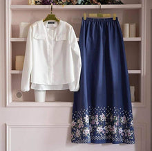 Load image into Gallery viewer, Stylish Rayon White Solid Top With Blue Floral Print Skirt Set - Tee-Zoo
