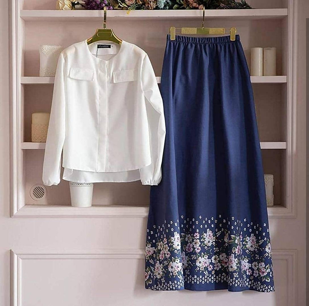 Stylish Rayon White Solid Top With Blue Floral Print Skirt Set - Tee-Zoo