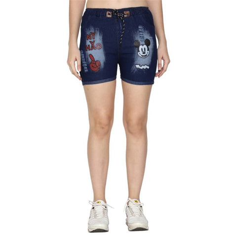 Women Printed Denim Shorts - Tee-Zoo