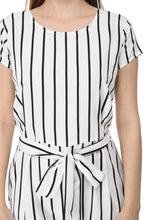 Load image into Gallery viewer, Women's Stylish and Trendy White Striped Crepe Jumpsuit - Tee-Zoo