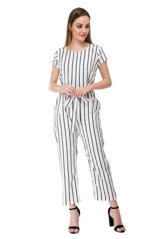 Women's Stylish and Trendy White Striped Crepe Jumpsuit - Tee-Zoo