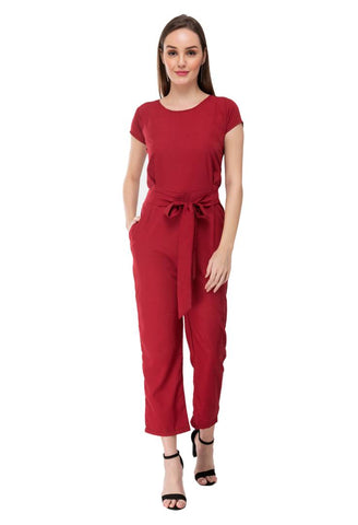 Women's Stylish and Trendy Maroon Solid Crepe Jumpsuit - Tee-Zoo