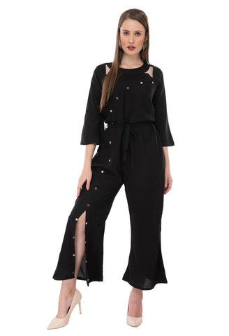 Women's Stylish and Trendy Black Solid Crepe Jumpsuit - Tee-Zoo