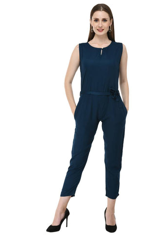 Women's Stylish and Trendy Blue Solid Rayon Jumpsuit - Tee-Zoo