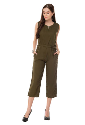 Women's Stylish and Trendy Olive Solid Rayon Jumpsuit - Tee-Zoo