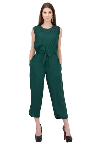 Women's Stylish and Trendy Green Solid Rayon Jumpsuit - Tee-Zoo