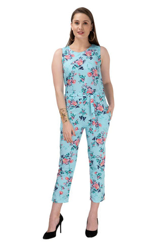 Women's Stylish and Trendy Blue Printed Crepe Jumpsuit - Tee-Zoo
