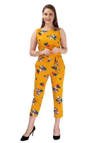 Women's Stylish and Trendy Yellow Printed Crepe Jumpsuit - Tee-Zoo