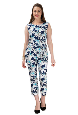 Women's Stylish and Trendy Multicoloured Printed Crepe Jumpsuit - Tee-Zoo