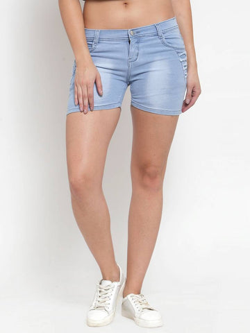 Stylish Denim Blue Shorts For Women - Tee-Zoo