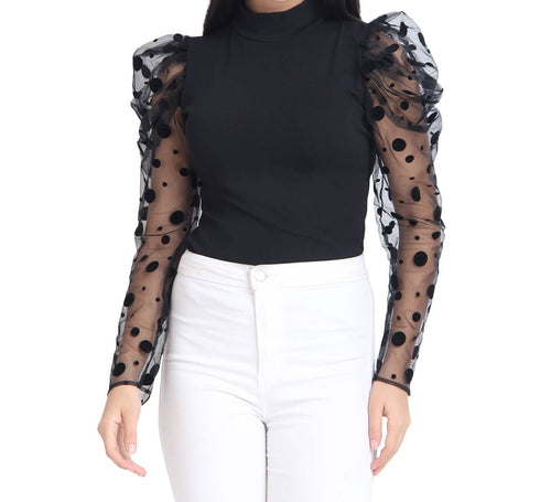 Black Carrera Polka Dot Net Top For Women - Tee-Zoo