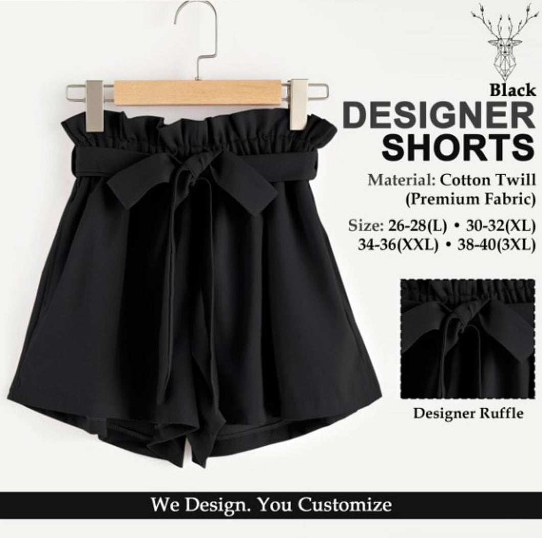 Stylish Cotton Solid Ruffle Design Shorts For Women - Tee-Zoo