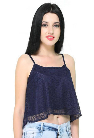 Women's Stylish and Trendy Lace Crop Top - Tee-Zoo
