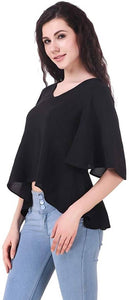 Stylish Black Crepe Solid Crop Top For Women - Tee-Zoo