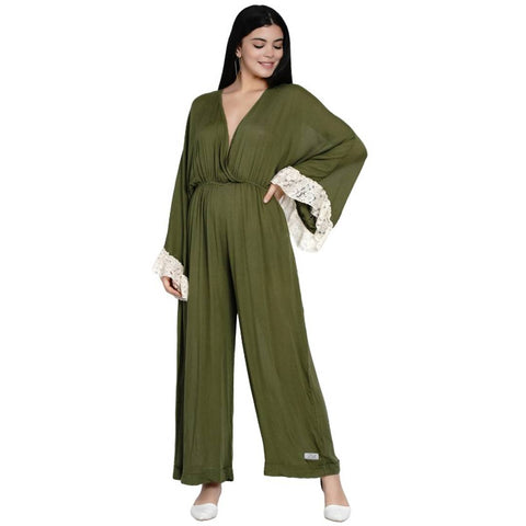 Women's Green Rayon Crepe Ankle Length Jumpsuit - Tee-Zoo