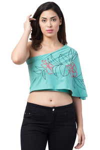 Women's Cotton Hosiery Printed Aqua Blue Regular Fit Crop Top - Tee-Zoo