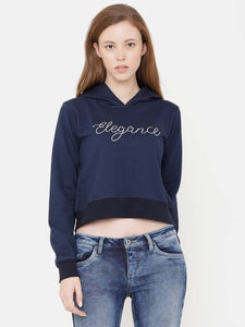 Elegance Women's Navy Embroidered Hoodi Sweatshirt - Tee-Zoo