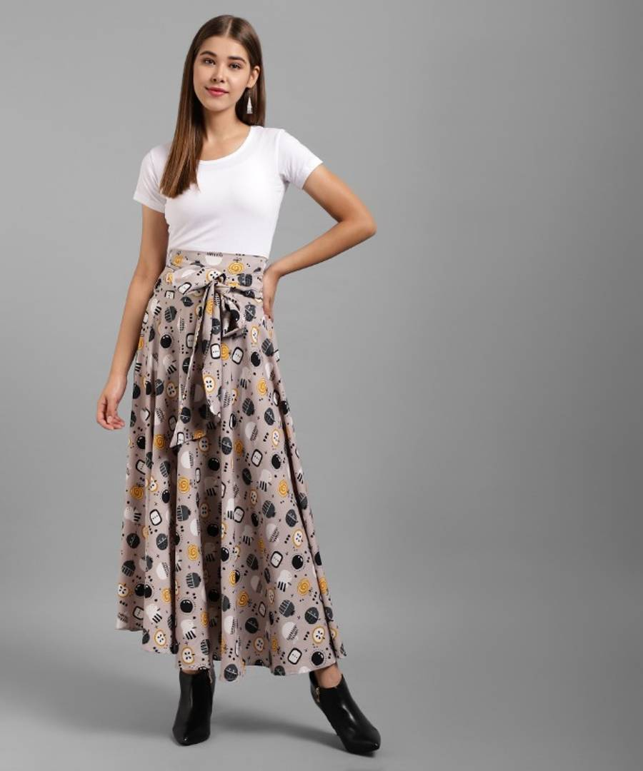 Fashionable Solid Cotton Round Neck White Top And Crepe Printed Skirt With Ribbon Set - Tee-Zoo