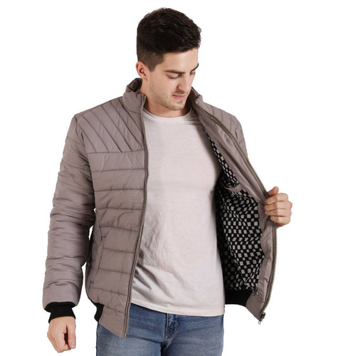 Men Grey Synthetic Leather Long Sleeves Open Front Jacket - Tee-Zoo