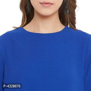 Women's Blue Color Plain Polyester Crepe Top - Tee-Zoo