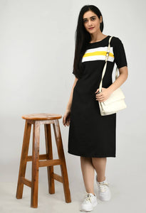 Modern Black Crepe Shift Dress For Women - Tee-Zoo