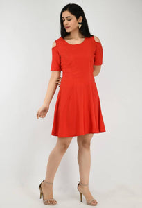 Modern Red Crepe A- Line Dress For Women - Tee-Zoo