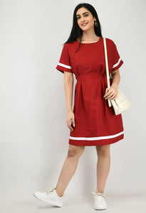 Modern Maroon Crepe A- Line Dress For Women - Tee-Zoo