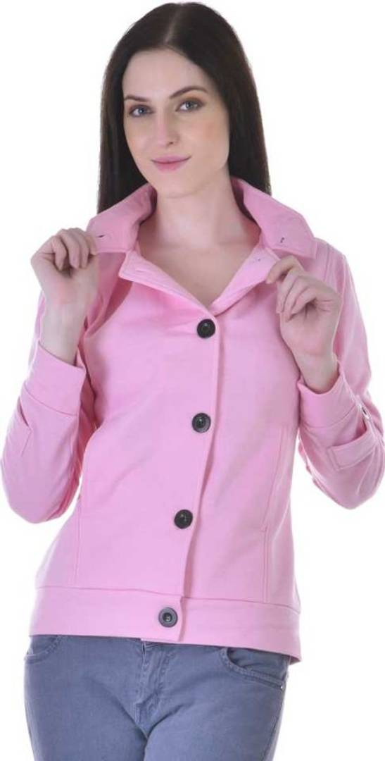 Women Button Solid Coat - Tee-Zoo