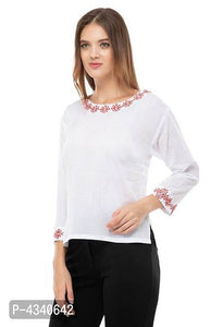 Stylish White Embroidered Rayon Casual Tops For Women - Tee-Zoo