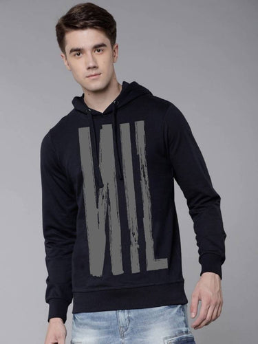Elegant Navy Blue Printed Fleece Hooded Sweatshirt For Men - Tee-Zoo