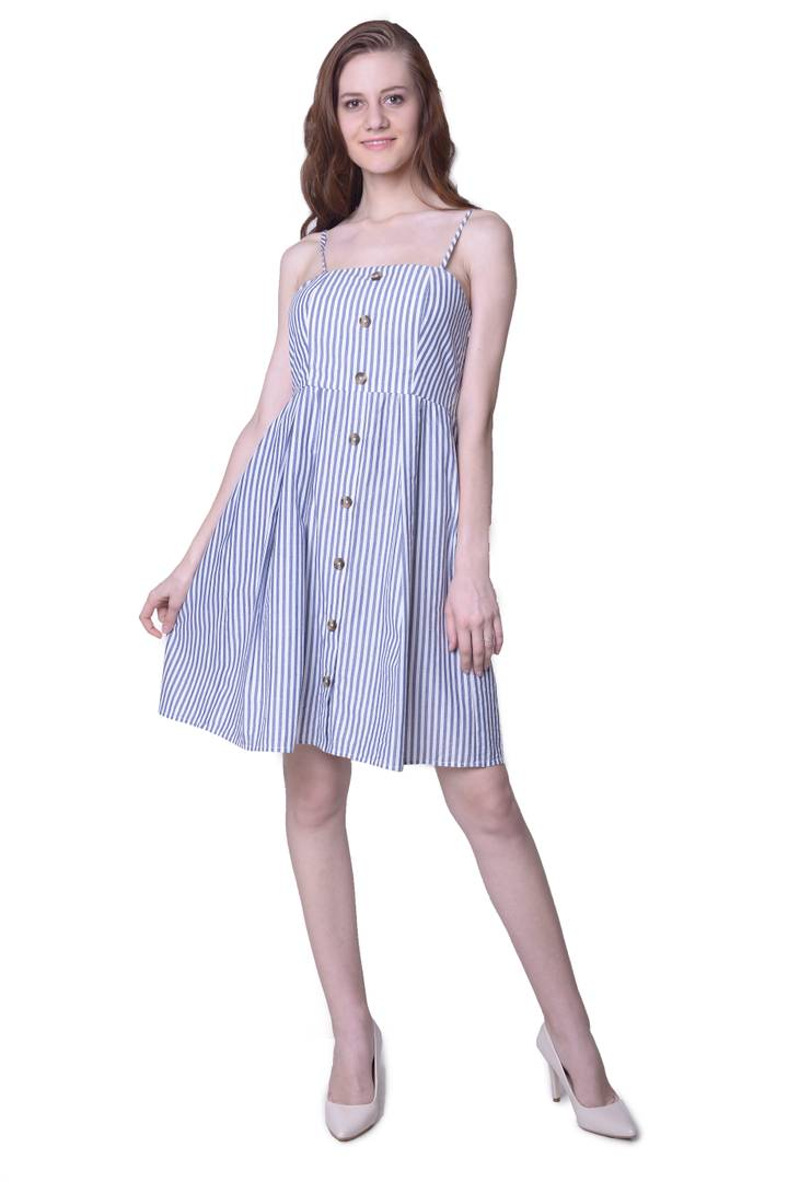 Stylish Cotton Blue Striped Dress For Women - Tee-Zoo