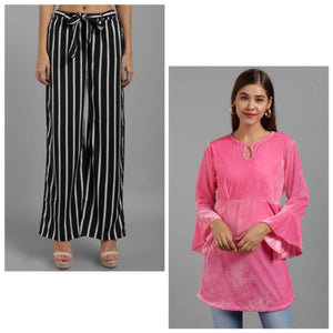 Raabta Black And White Check Plazzo With Baby Pink Velvet Bell Sleeve Top - Tee-Zoo
