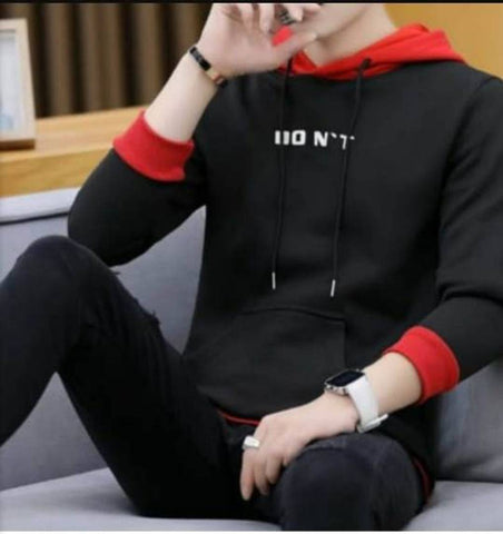 Stunning Black Printed Cotton Hooded Tees For Men - Tee-Zoo