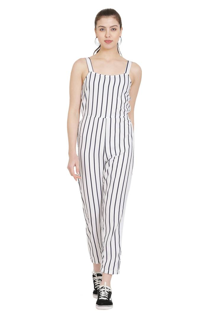 White Crepe Jumpsuit For Women's and Girl's - Tee-Zoo