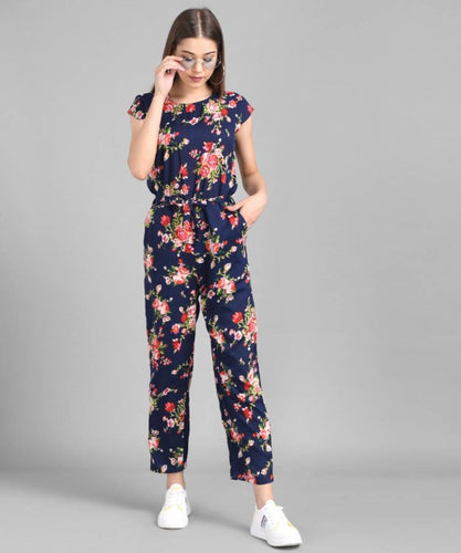 Women Nevy Blue Flower Printed Front Knot Jumpsuits - Tee-Zoo