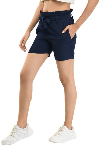 Designer Blue Crepe Solid Regular Shorts For Women - Tee-Zoo