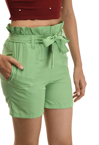Designer Olive Crepe Solid Regular Shorts For Women - Tee-Zoo