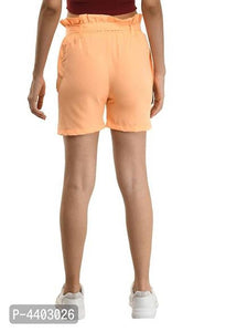 Designer Orange Crepe Solid Regular Shorts For Women - Tee-Zoo
