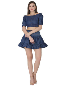 Elegant Denim Blue Crop Top And Mini Skirt Set For Women - Tee-Zoo