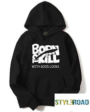 Load image into Gallery viewer, Stylish Black Printed Fleece Hooded Sweatshirt For Men - Tee-Zoo
