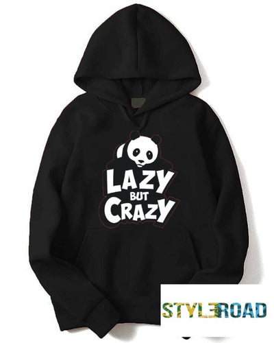 Stylish Black Printed Fleece Hooded Sweatshirt For Men - Tee-Zoo