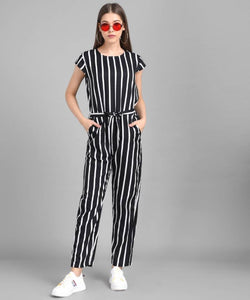 Women Black Big Stripe Printed Front Knot Jumpsuits - Tee-Zoo