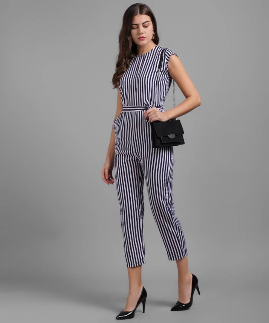 Women Nevy Blue Small Stripe Printed Front Knot Jumpsuits - Tee-Zoo