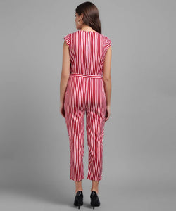 Women Red Stripe Printed Front Knot Jumpsuits - Tee-Zoo